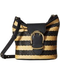 0b42fe6404 Lauren by Ralph Lauren - Cornwall Stripe Woven Straw Bucket Crossbody  (black natural)