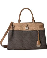 MICHAEL Michael Kors - Gramercy Signature Large Satchel (dark Chambray  Multi) Satchel Handbags - 3d1b54c8d09