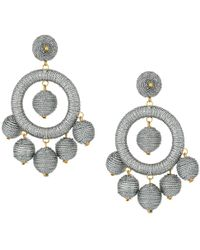 Kenneth Jay Lane - Graduated Silver Thread Wrapped Balls Drops W/ Dome Top Post Earrings - Lyst