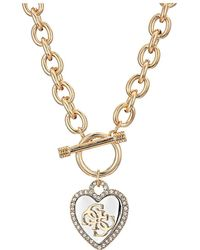 Guess - Pave Framed Heart Toggle Necklace With 4 G Logo - Lyst