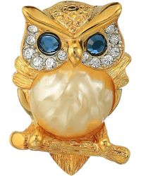 Kenneth Jay Lane - Gold/tortoise Rhine Pearl Body/saphire Eyes Owl Pin (pearl/montana) Brooches Pins - Lyst