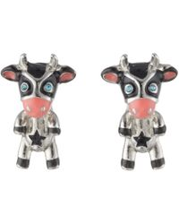 Betsey Johnson - Cow Stud Earrings (black) Earring - Lyst