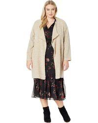 Calvin Klein - Plus Size Long Flyaway Jacket (blush Heather Latte Combo) Women's Coat - Lyst