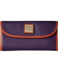 Dooney & Bourke - Pebble Continental Clutch (saffron/tan Trim) Clutch Handbags - Lyst