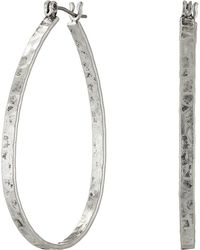 Lucky Brand - Textured Medium Oblong Hoops (silver) Earring - Lyst
