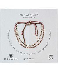 Dogeared - No Worries, Set Of 2, Flat Bead Silk Bracelets (silver/pebble/light Blue) Bracelet - Lyst