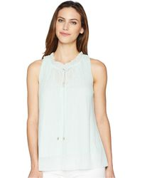 Ellen Tracy - Shirred Neck Sleeveless Top (seafoam) Women's Sleeveless - Lyst