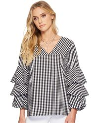 Kensie - Gingham Check Top Ks4k4674 (black Combo) Women's Clothing - Lyst