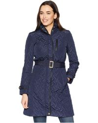Cole Haan - Belted Signature Quilt Zip Front Coat With Trapunto Stitching Details (olive) Women's Coat - Lyst