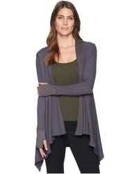 Allen Allen - L/s Open Cardigan W/ Thumbhole Cuffs (flint) Women's Sweater - Lyst