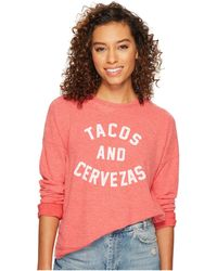 The Original Retro Brand - Tacos Cervezas Hacci Pullover Crew (red) Women's T Shirt - Lyst