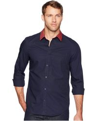 Calvin Klein - Long Sleeve Stripe Collar Button Down (sky Captain) Men's Long Sleeve Button Up - Lyst