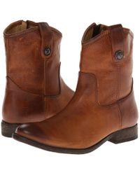 Frye - Melissa Button Short (dark Brown Full Grain Leather) Cowboy Boots - Lyst