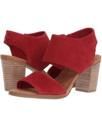 TOMS | Red Suede Women's Majorca Cutout Sandals | Lyst