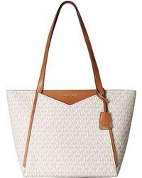 fc1f52696c4c MICHAEL Michael Kors - Whitney Large Top Zip Tote (vanilla) Tote Handbags -  Lyst