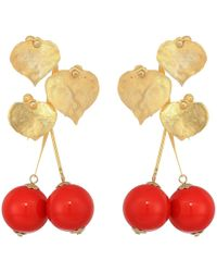 """Kenneth Jay Lane - 2.5"""" Satin Gold Leaves With Cherry Drop Post Earrings - Lyst"""