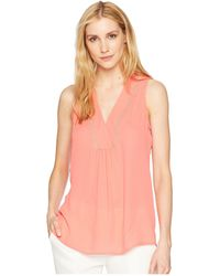 Ivanka Trump - Georgette Sleeveless V-neck With Trimming Detail (guava) Women's Clothing - Lyst