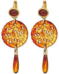 Kenneth Jay Lane - Small Gold Tortoise Top/craved Tortoise/tortoise Drop Wire Earrings - Lyst