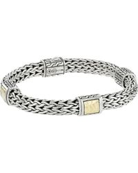 John Hardy - Classic Chain 7.5mm Hammered Station Bracelet With 18k Yellow Gold - Lyst