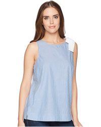 Ivanka Trump - Cotton Short Sleeve Shirt With Bow (blue/ivory) Women's Clothing - Lyst