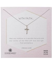 Dogeared - With Faith...cross Pendant With Crystal Inset Necklace - Lyst
