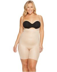 Spanx - Plus Size Power Conceal-hertm Open-bust Mid-thigh Bodysuit (natural Glam) Women's Jumpsuit & Rompers One Piece - Lyst
