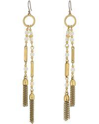 Lucky Brand - White Beaded Tassel Earrings - Lyst