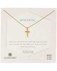 Dogeared - With Faith...cross Pendant With Crystal Inset Necklace (sterling Silver) Necklace - Lyst