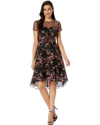 Adrianna Papell - Trailing Blossoms Embroidered High-low Fit And Flare Dress (pink Multi) Women's Dress - Lyst