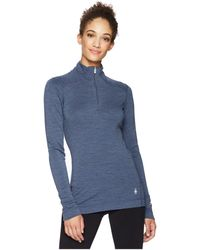 Smartwool - Nts Mid 250 Baselayer Zip Top (dark Blue Steel Heather) Women's Long Sleeve Pullover - Lyst