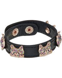 Betsey Johnson - Multi Stone Cat Leather Snap Bracelet (multi) Bracelet - Lyst