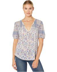 Lucky Brand - Printed Short Sleeve Henley Top - Lyst