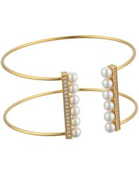 Majorica - 5mm Round Pearls And Cz Accents On A Yellow Plated Titanium Wire Bangle (white) Bracelet - Lyst