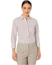 c2dc46f2e89dd Lauren by Ralph Lauren - Petite Striped No-iron Button Down Shirt (white