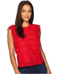 Lauren by Ralph Lauren - Petite Eyelet Ruffled Cotton Top - Lyst