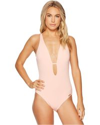 Vince Camuto - Riviera Solids Plunging V-neck One-piece Swimsuit W/ Removable Soft Cups - Lyst