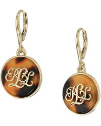 Lauren by Ralph Lauren - Tortoise Logo Drop Earrings (gold) Earring - Lyst