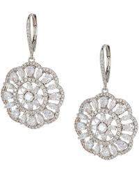 Nina - Sunburst Lever Back Earrings (palladium/white Cz) Earring - Lyst
