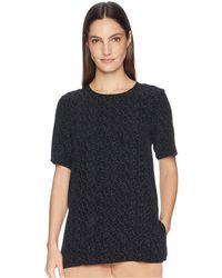 Eileen Fisher - Morse Code Round Neck Short Sleeve Box-top (black) Women's Clothing - Lyst