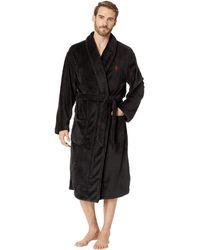 Polo Ralph Lauren - Microfiber Plush Long Sleeve Shawl Collar Robe  (blackwatch Plaid polo 04b1a3eb9