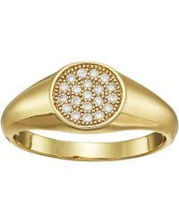 Shashi - Pave Signet Ring (yellow Gold) Ring - Lyst