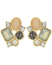 Vince Camuto - Cluster Stud Earrings (gold/carnelian Cats Eye/ivory/greige/sand Opal/crystal) Earring - Lyst
