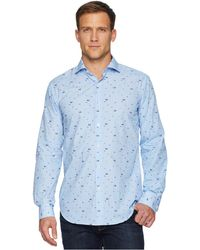 Bugatchi - Long Sleeve Spread Collar Woven Shaped (air Blue) Men's Clothing - Lyst