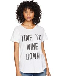 The Original Retro Brand - Time To Wine Down Rolled Short Sleeve Slub Tee (white) Women's T Shirt - Lyst
