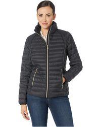 MICHAEL Michael Kors - Zip Front Stand Collar Packable M822669m (black) Women's Coat - Lyst