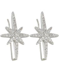 Betsey Johnson - Blue By Silver Tone Earrings Climbers With Pave Crystal Accented Starburst - Lyst