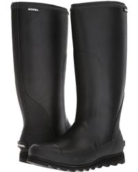 Sorel - Joan Rain Tall (black/sea Salt) Women's Waterproof Boots - Lyst