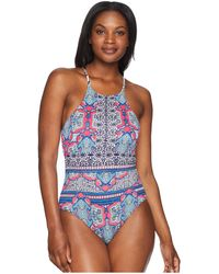 Tommy Bahama - Riviera Tile Reversible High-neck One-piece - Lyst
