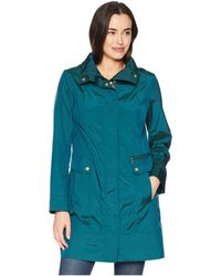 Cole Haan - 34 1/2 Single Breasted Rain Jacket With Removable Hood (champagne) Women's Coat - Lyst