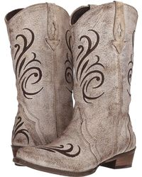 264b600bde5 Roper - Olivia (brown Sanded Leather Vamp) Cowboy Boots - Lyst